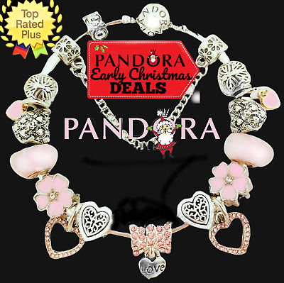 Authentic PANDORA CHARM Bracelet Silver Pink LOVE with European Charms New