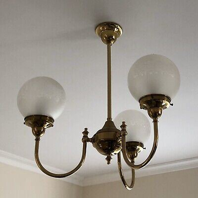 Pendant Light - 3 Light Brass Pendant Fitting with Frosted Glass Shades