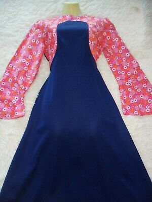 Original Vintage 70`S Mock Pinafore Look Maxi Dress 38B 31W Hippy Boho Prairie