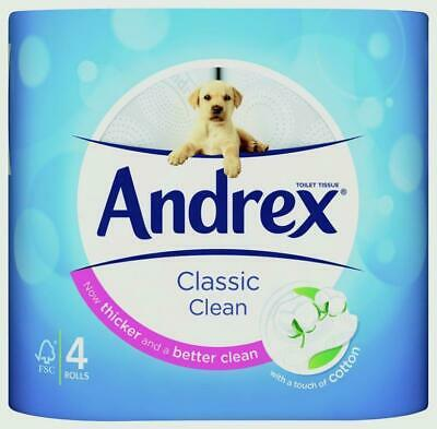 Andrex Classic Clean Toilet Roll, 4 Count - White 6 Pack