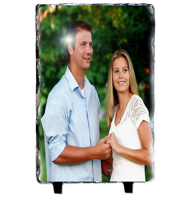 Custom Photo on rectangle Slate Image Picture Natural Personalised Gift 22x12cm