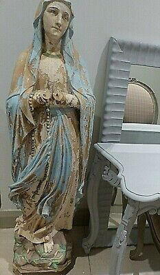 Large Antique Terracotta Mary - Madonna - 120 Cm - 3 Feet 9 Inches Height
