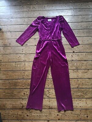 Vintage 80s purple Velour Jumpsuit Boiler Suit Size UK 14 party long sleeves