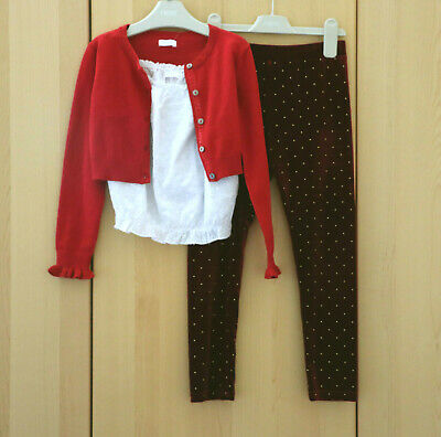 Next Girls Red Cropped Cardigan White Cami Top & Red Leggings Age 7 Years BNWT