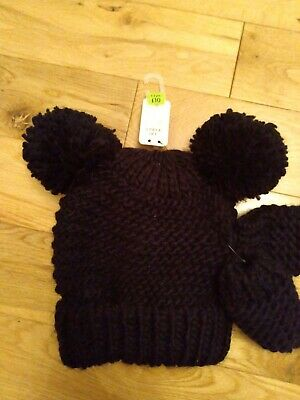NEXT GIRLS BLACK WINTER pom pom HAT & MITTENS AGE  3-9 months BNWT