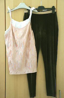 Next Girls Pink/ White Cami Top Green Velvet Feel Leggings Age 12 Years BNWT