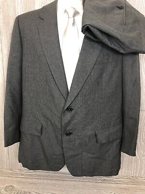 Hickey Freeman Mens Grey Striped Wool 2pc Suit 44 Short 39x26 (t13)