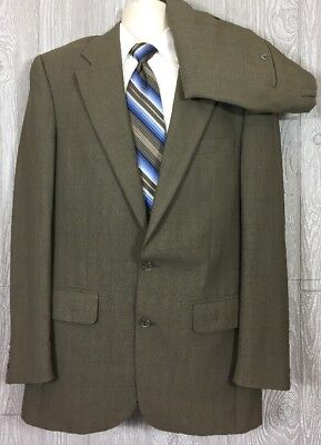 Burberrys' Prorsum Mens Olive Plaid 2pc Suit Wool 42 Long Pants 31.5x31.5 (t3)