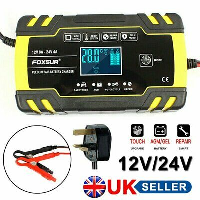 Automatic Intelligent Car Battery Charger Pulse Repair Starter 12V/24V AGM/GEL