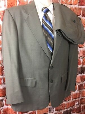 Savile Row Mens Grey/Olive 2 Piece Suit Sz 42 Pants 35x30 (t5)
