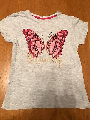 Girls Grey Butterfly Summer T Shirt. Age 8-9 Years. VGC