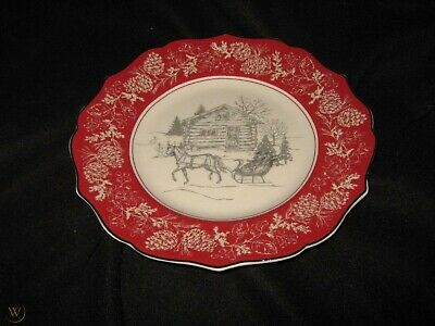 222 Fifth Andover Salad Plates Christmas Winter - Set Of 4 - New