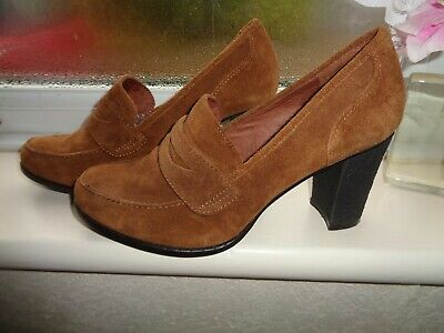 Kew 159 Real Leather~Sued High Front Shoes Slip On Size Uk 5D~~ Eu 38 Bnwot