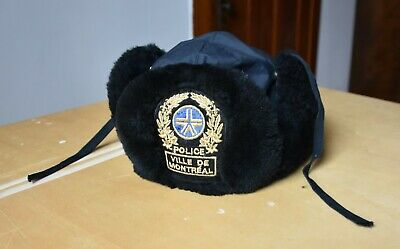 2004 Genuine Montreal Canada Police Forces Chapka / Hat Rare Vintage (L)
