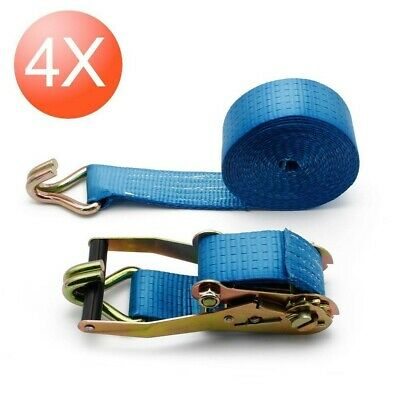 4 x Tension Strap with Ratchet 6 Meter 5t Lashing 50mmx 6m 5000 Dan kg Blue