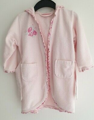 John Lewis Girls Pastel Pink Hooded Dressing Gown / Bath Robe, Age 3-4 Years