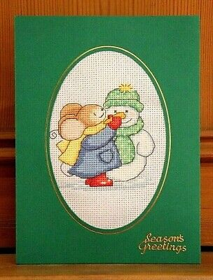 "Handmade Completed Cross Stitch Christmas Card Snowman Furry Tales Mouse 8"" x 6"""