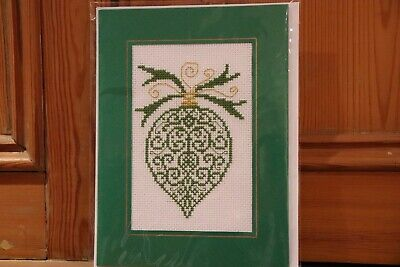 "Handmade Completed Cross Stitch Christmas Card Decoration Finished Bauble 8"" 6"""