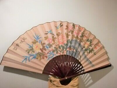 Oriental hand painted fan, pastel floral scene with birds, large wall display