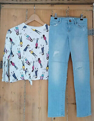 ***Girls Outfit Zara T-Shirt & Gap Light Blue Ripped Jeans Age 8***