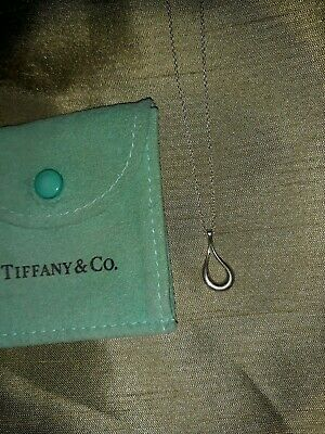 Tiffany & Co. Sterling Silver Elsa Peretti Open Teardrop Pendant Necklace 16 in