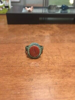 Ancient Carnelian Roman Soldier Intaglio Signet Ring. Very Rare And Nice