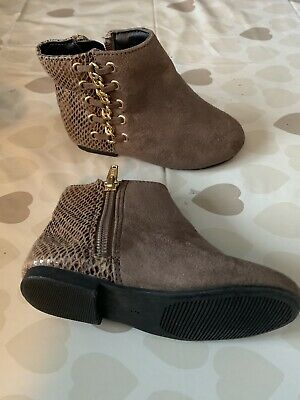 Cute River Island Ankle Boots Shoes Infant Size 5 Tan And Gold Gorgeous