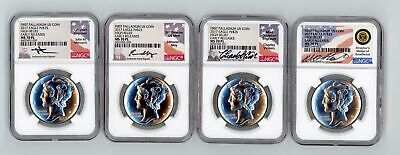 2017 Palladium American Eagle High Relief Early Releases MS 70 PL NGC 4 Coin Set