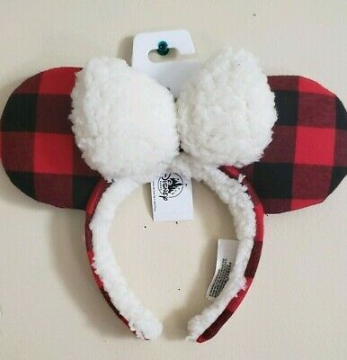 NEW Disney Parks Christmas Holiday Plaid Red Black Ears Headband Mickey Minnie
