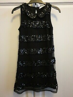 Girls Marks & Spencer Black Sparkly Dress Christmas Party 6-7 Excellent Conditio