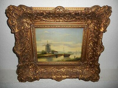 Old oil painting, ( Coast landscape with windmills and sailboats, nice frame! ).