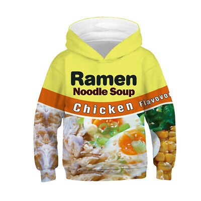 Childrens Kids Girls Boys Unisex Cute Chicken Ramen Noodle Sweatshirt Hoodie