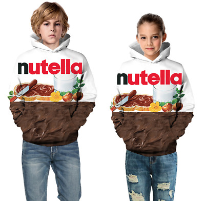 Childrens Kids Girls Boys Unisex Casual Funny Nutella Spread Hoodie Sweatshirt