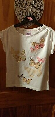White Butterfly Girls T Shirt Age 8-9 Vgc