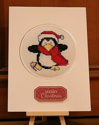 "Handmade Completed Cross Stitch Christmas Card Skating Penguin 8""x6"""