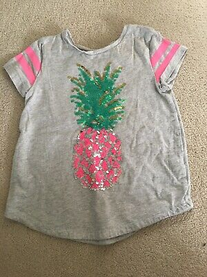 Kids Girls Grey Pineapple Sequin Short Sleeved T-Shirt Age 5-6 Years