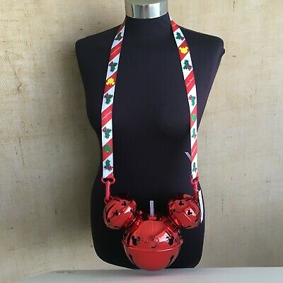 Disney Parks Christmas Red Mickey Ears Jingle Bell Light-Up Ornament Sipper NEW