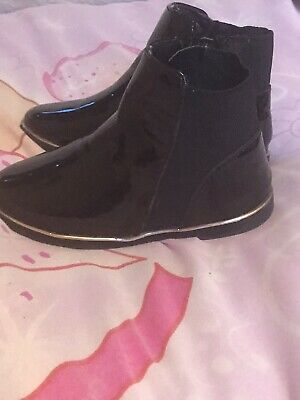 Girls Black Patent River Island Ankle Boots Size 7