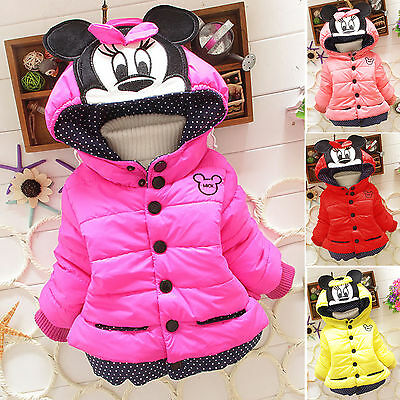 Kids Girls Cartoon Minnie Mouse Padded Hooded Coat Jacket Winter Outerwear Tops