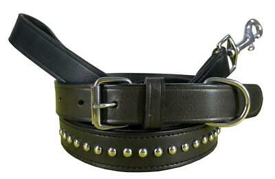 BRADLEY CROMPTON Genuine Leather Matching Pair Dog Collar and Lead Set S