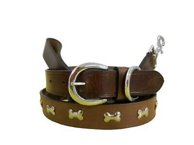BRADLEY CROMPTON Genuine Leather Matching Pair Dog Collar and Lead Set L
