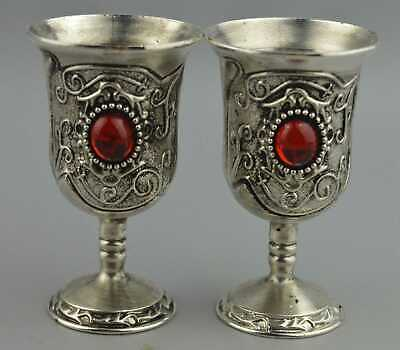China Collectable Handwork Miao Silver Carve Flower Inlay Agate Noble Wine Cup