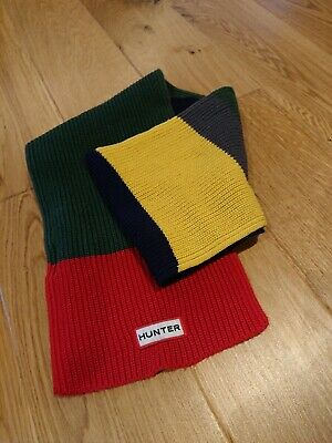 Kids Hunter knitted scarf. Red, green, yellow, navy striped.