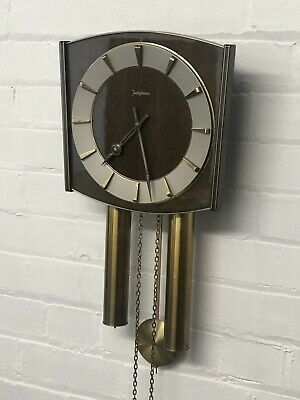 Superb Vintage Mid 20th Century Junghans Teak and Brass Wall Clock