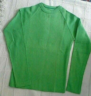 Vintage Stretch Ribbed Top - Age 12 Years - Green - Crew Neck - Defects - New