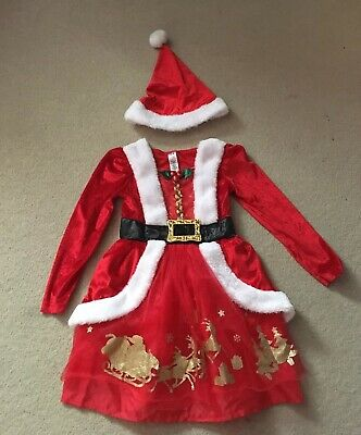 George Girls Mrs Christmas Outfit Dress Hat Age 5-6 Years