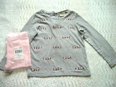 Next Grey L/S Top Pink Beads Detail 4 Years & Bnwt Pink Leggings C/Place