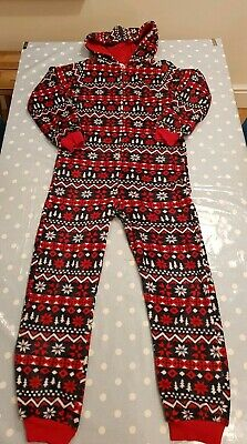 Boy's All In One Sleep suit 12-13 Christmas Red Blue Pyjamas Onesie not Gerber