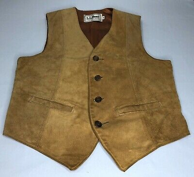 LL Bean Vest Western Suede Genuine Leather Light Brown Mens M Medium Vintage