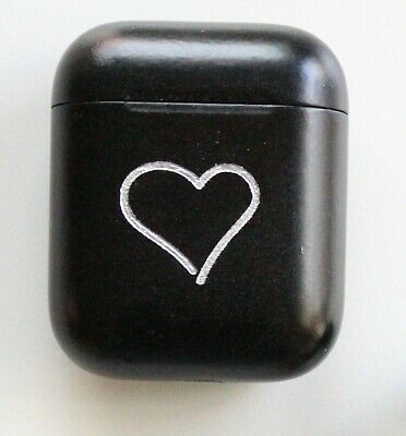 Apple Airpods Wire Charging Case 2nd gen. Custom Black Paint with Silver Heart.